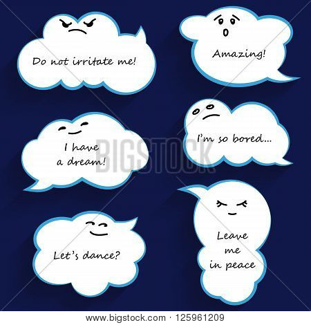 Cloud shape funny cartoon speech bubbles with emotions. Vector illustration