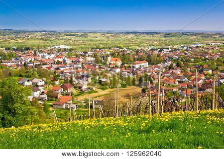 Town of Ivanec aerial springtime view Zagorje Croatia