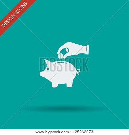 piggy bank and hand with coin black icon.vector illustration