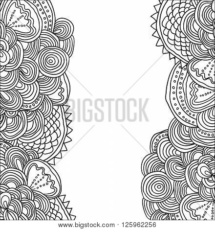 Vector uncolored hand drawn pattern. Side tracery with white field between. Can be used as card, invitation, background, adult coloring book.