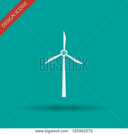 Wind turbine icon. Flat design style eps 10