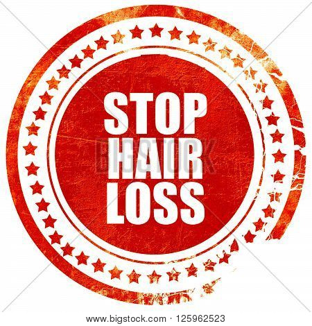 stop hair loss, isolated red stamp on a solid white background