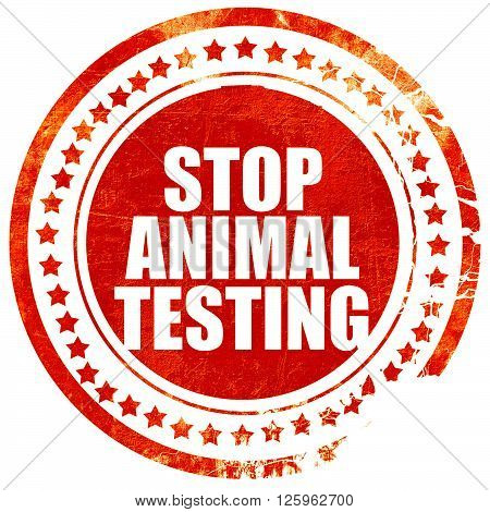 stop animal testing, isolated red stamp on a solid white background