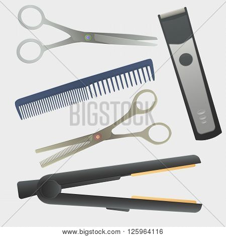vector hairdressing tools. realistic vector illustration. hairdressing instruments. Comb, scissors, thinning scissors, hair machine, hair straightener.