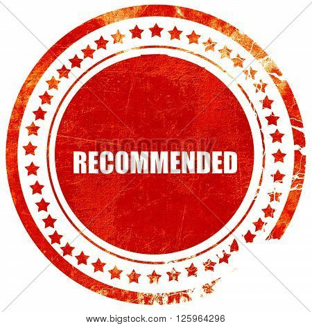 recommended, isolated red stamp on a solid white background
