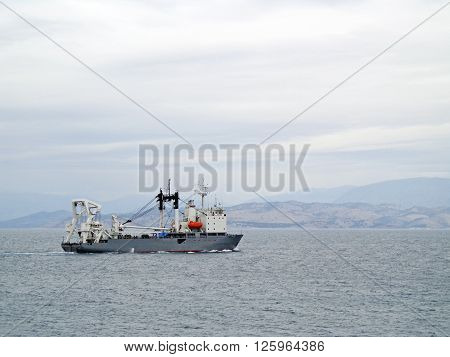 View of the research vessel in the sea