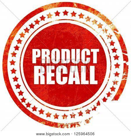 product recall, isolated red stamp on a solid white background