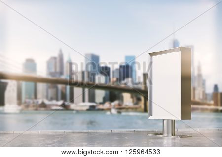 Blank ad stand in city during daytime. Mock up 3D Rendering