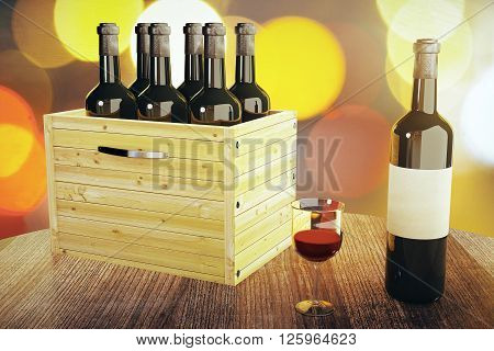 Wooden table with wine glass wine bottle with empty label and box. Mock up 3D Rendering