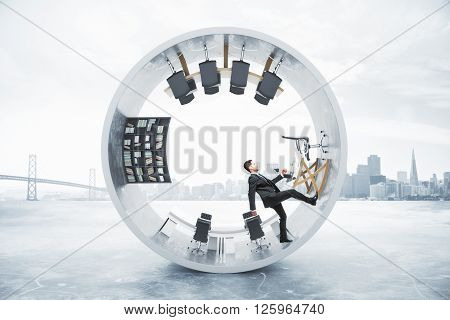 Abstract office interior with running businessman inside concrete cylinder on foggy city background. 3D Rendering