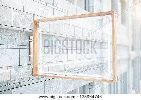 Glass stopper on concrete brick building. Mock up 3D Rendering