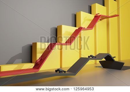 Different direction concept with abstract cars going in different directions on red and black arrows. Yellow chart bars in the background. Rearview 3D Rendering