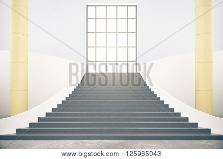 Interior design with stairs columns and window. 3D Rendering