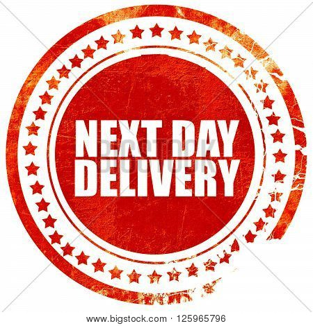 next day delivery, isolated red stamp on a solid white background