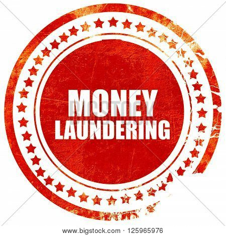 money laundering, isolated red stamp on a solid white background