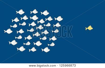 Fishes in leadership concept