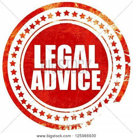 legal advice, isolated red stamp on a solid white background