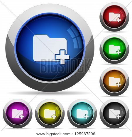 Set of round glossy add new folder buttons. Arranged layer structure.