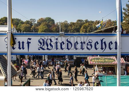MUNICH, GERMANY - OCTOBER 02, 2015: The beer garden of the Braeurosl beer tent with the exit sign