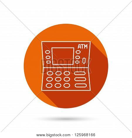 ATM icon. Automatic cash withdrawal sign. Round orange web button with shadow.