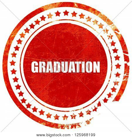 graduation, isolated red stamp on a solid white background