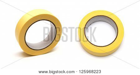 Roll of sticky insulating Scotch tape on a white background