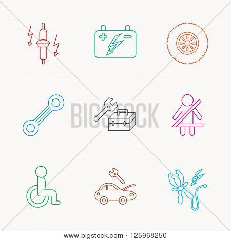 Accumulator, spanner tool and car service icons. Repair toolbox, wheel and spark plug linear signs. Disabled person, battery terminal icons. Linear colored icons.