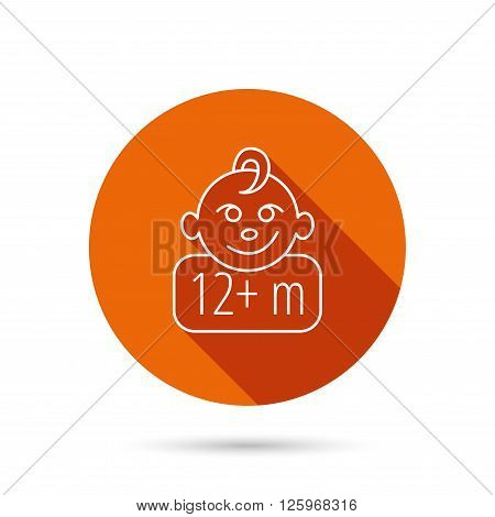Baby face icon. Newborn child sign. Use of twelve months and plus symbol. Round orange web button with shadow.