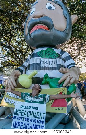 Brasilia, Brazil April 16th 2016 Protester showing his support for the Impeachment of President Dilma Rousseff