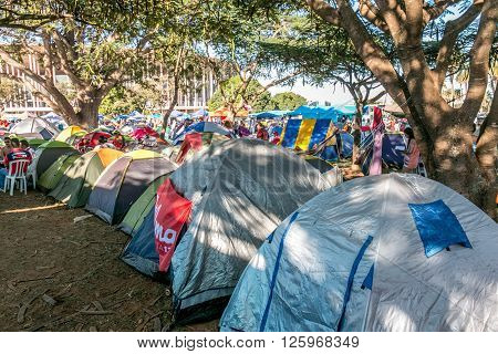 Brasilia, Brazil April 16th 2016,Protesters, Camped, Outside, The, Mané, Garrincha, Stadium, In, Support, Of, President, Dilma, Rousseff