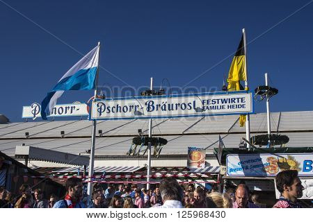 MUNICH, GERMANY - OCTOBER 02, 2015: The beer garden of the Braeurosl beer tent