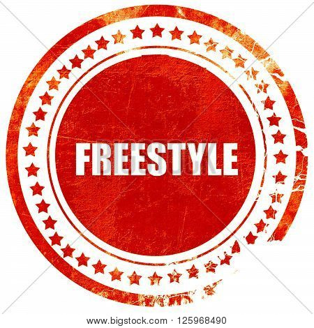 freestyle, isolated red stamp on a solid white background