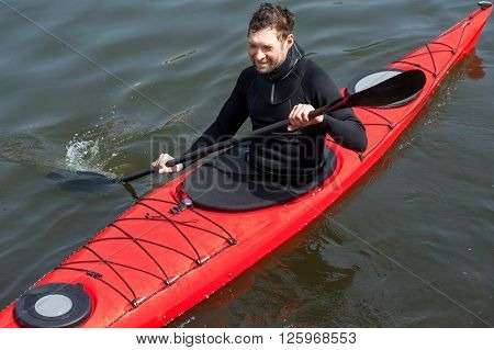Sports Cheerful Man In Red Kayak03