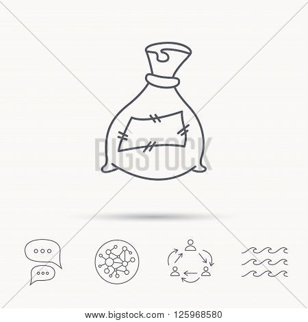 Bag with fertilizer icon. Fertilization sack sign. Farming or agriculture symbol. Global connect network, ocean wave and chat dialog icons. Teamwork symbol.