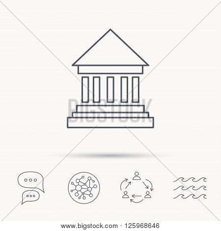 Bank icon. Court house sign. Money investment symbol. Global connect network, ocean wave and chat dialog icons. Teamwork symbol.