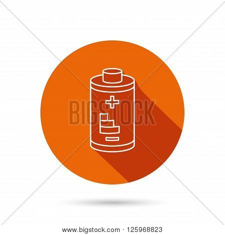Battery icon. Electrical power sign. Rechargeable energy symbol. Round orange web button with shadow.