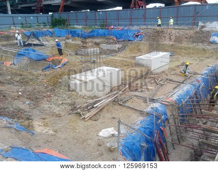 SELANGOR, MALAYSIA - May 25, 2015: The concrete pile cap concreted at the construction site in Selangor Malaysia. The pile cap is the part of building foundation.