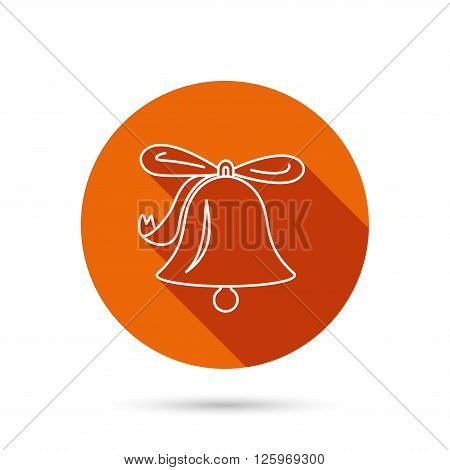 Ringing jingle bell icon. Sound sign. Alarm handbell symbol. Round orange web button with shadow.