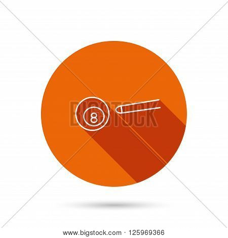 Billiard ball icon. Pool or snooker equipment sign. Cue sports symbol. Round orange web button with shadow.