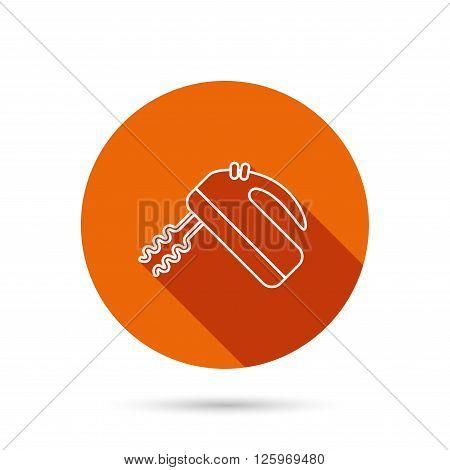 Blender icon. Mixer sign. Round orange web button with shadow.