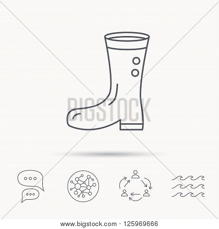 Boots icon. Garden rubber shoes sign. Waterproof wear symbol. Global connect network, ocean wave and chat dialog icons. Teamwork symbol.
