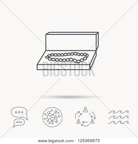 Jewellery box icon. Luxury precious sign. Global connect network, ocean wave and chat dialog icons. Teamwork symbol.