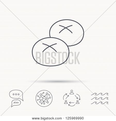 Bread rolls or buns icon. Natural food sign. Bakery symbol. Global connect network, ocean wave and chat dialog icons. Teamwork symbol.