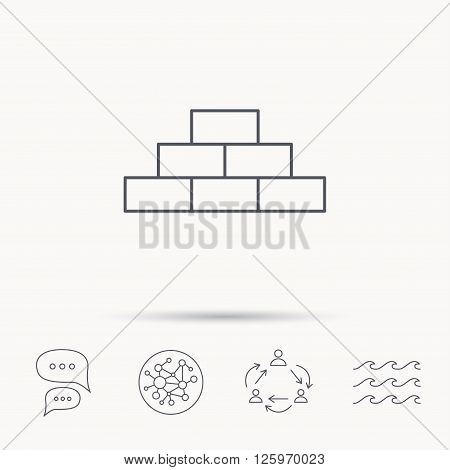 Brickwork icon. Brick construction sign. Global connect network, ocean wave and chat dialog icons. Teamwork symbol.