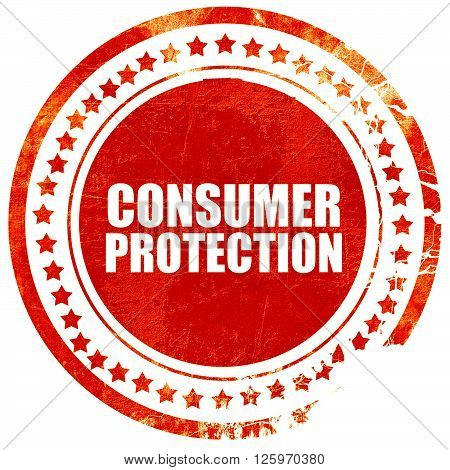 consumer protection, isolated red stamp on a solid white background