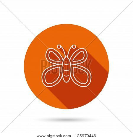 Butterfly icon. Flying lepidoptera sign. Dreaming symbol. Round orange web button with shadow.