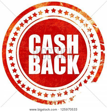 cash back, isolated red stamp on a solid white background