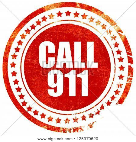 call 911, isolated red stamp on a solid white background