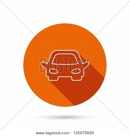 Car icon. Auto transport sign. Round orange web button with shadow.