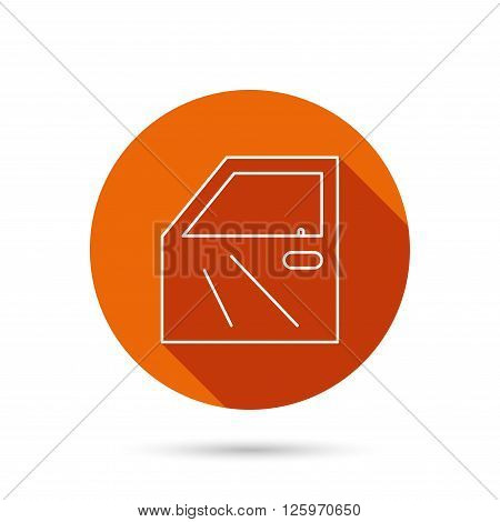 Car door icon. Automobile lock sign. Round orange web button with shadow.